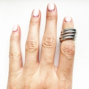 Chic silver coil wrap knuckle ring